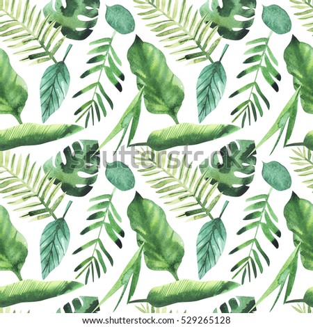 Watercolor seamless pattern with jungle leaves. Bright tropical background.