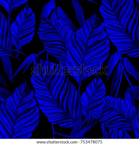 Watercolor seamless pattern with leaves. Vintage texture. - Shutterstock ID 753478075