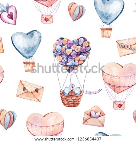 Watercolor seamless pattern with lovely bears. Cute illustration for wallpaper, background, textile or paper design. St.Valentine's Day background.