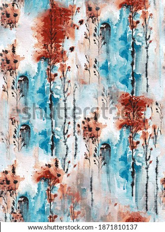 Watercolor seamless pattern with natural fall autumn in abstract style. Abstract circle  art background. Vintage print. Texture paper. seamless pattern. Contemporary art.