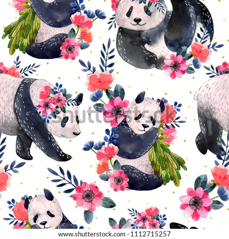 Watercolor seamless pattern with pandas and flowers isolated on a white background. Golden stars on the background. Watercolor illustration.