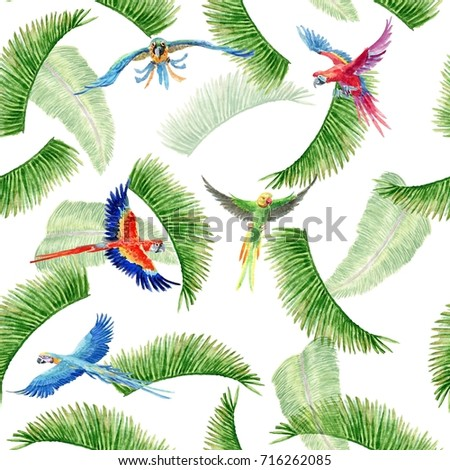 Watercolor seamless pattern with parrots and palm leaves on white background