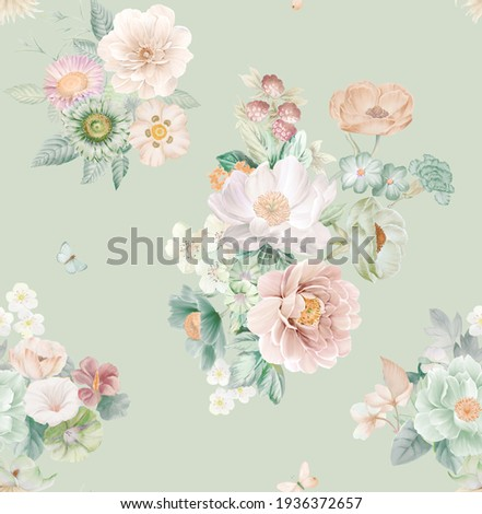 Watercolor seamless pattern with peony flowers. Perfect for wallpaper, fabric design, wrapping paper, surface textures, digital paper.
