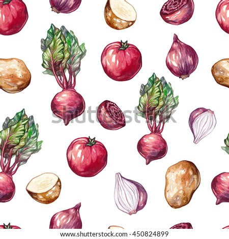 Watercolor seamless pattern with red and purple vegetables. Tomato, onion, beet, beetroot, potato, yam. Watercolor pattern for textile on white background.