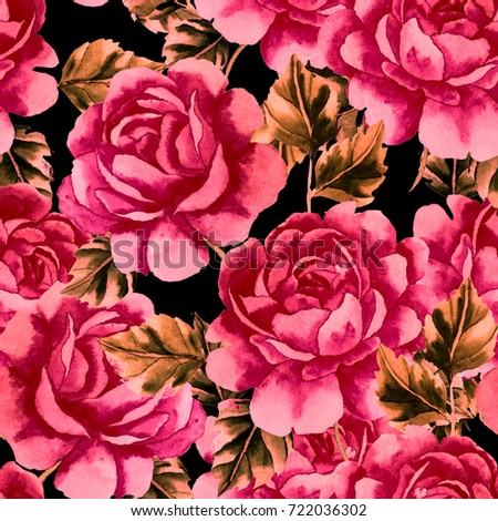 Watercolor seamless pattern with roses.