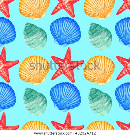 Watercolor seamless pattern with seashell, starfish on blue background. Hand painting on paper