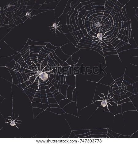 Watercolor seamless pattern with spider and web. Scary spiderweb Halloween illustration on black background