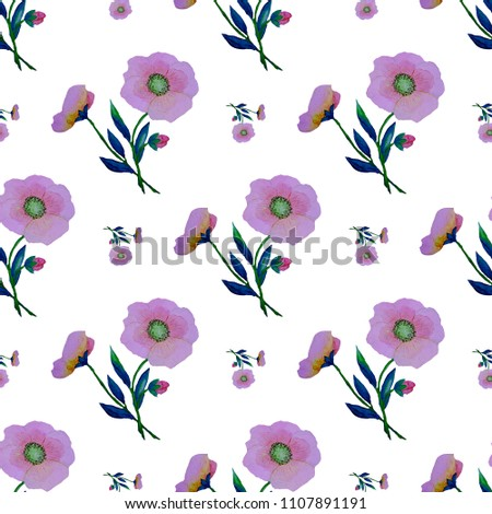Watercolor seamless pattern with stylized flowers. Abstraction.