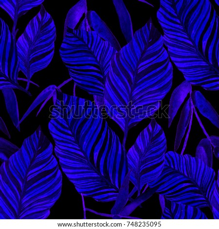 Watercolor seamless pattern with tropical leaves: palms, monstera, passion fruit. Beautiful allover print with hand drawn exotic plants. Swimwear botanical design. - Shutterstock ID 748235095