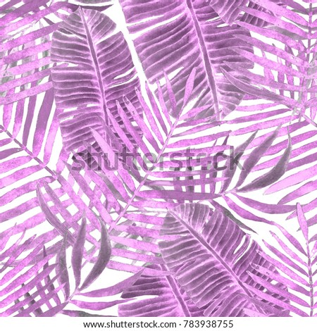 Watercolor seamless pattern with tropical leaves: palms, monstera, passion fruit. Beautiful allover print with hand drawn exotic plants. Swimwear botanical design.  #783938755