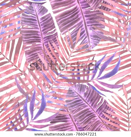 Watercolor seamless pattern with tropical leaves: palms, monstera, passion fruit. Beautiful allover print with hand drawn exotic plants. Swimwear botanical design.  #786047221