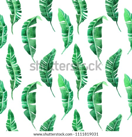 Watercolor seamless pattern with tropical leaves. Summer decoration print for wrapping, wallpaper, fabric. Hand drawn illustration