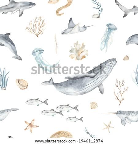 Watercolor seamless pattern with underwater world, fish, whale, shark, dolphin, starfish, jellyfish, algae, seashells