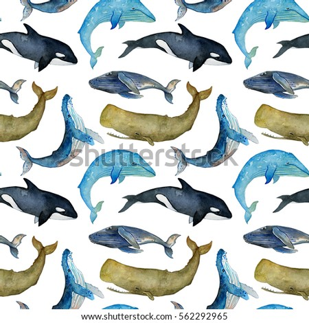 watercolor seamless pattern with whales on the white background,