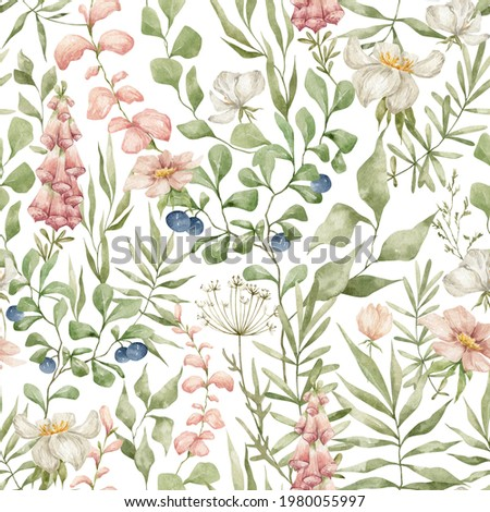 Watercolor seamless pattern with wild berries, flowers and leaves. Forest plants. Summer floral background. Blueberries, digitalis, nature, blossom botany.  Stock photo ©
