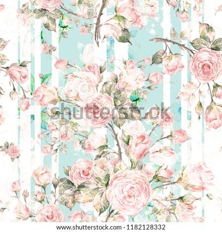 Watercolor Seamless Rose Pattern