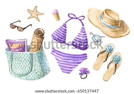 Watercolor set of accessories for the beach. Cute marine items, isolated on the white background. Summer clothes: bikini, straw hat, bag, mat, sandals, sunglasses.