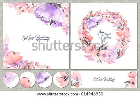Watercolor set of backgrounds with floral elements. Can be used for wedding design, mothers day, valentines day, birthday cards and other. #614946950