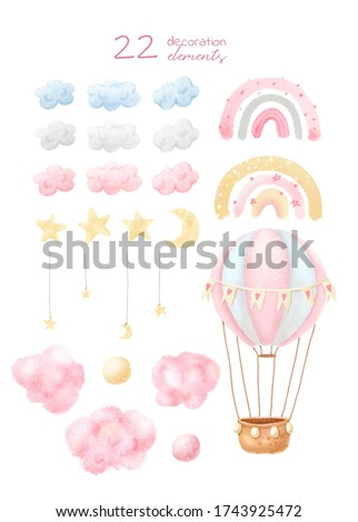 Watercolor set of decoration elements: cloWatercolor set of decoration elements: clouds, stars, rainbow, air ballon . Baby print or poster. Hand drawn cute illustration Contemporary art. uds, stars