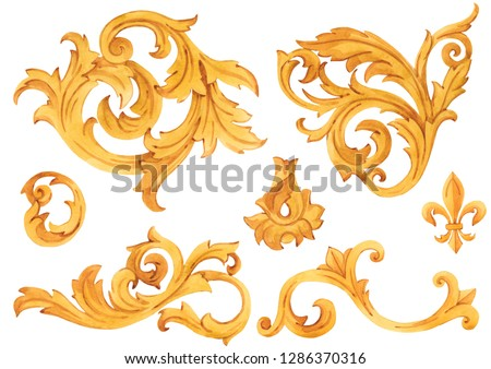 Watercolor set of isolated objects, golden elements in baroque, rococo style