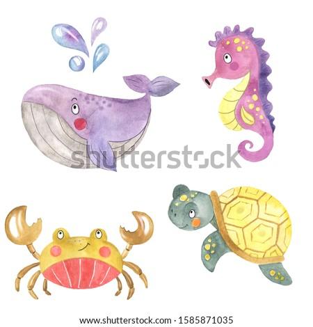 Watercolor set of seahorse, whale, crab, sea turtle, sea inhabitants, cartoon animals, sea animals, big whale, childish illustration, underwater world, baby show, set with sea animals