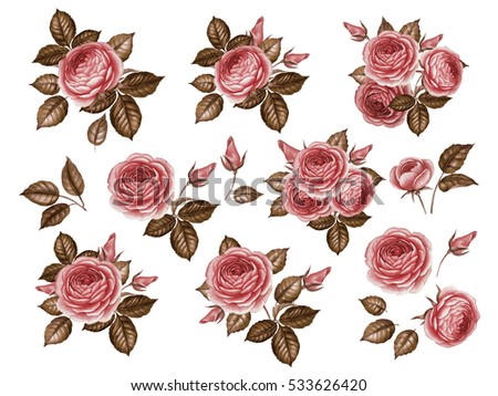 Vector Images Illustrations And Cliparts Watercolor Set Of Vintage