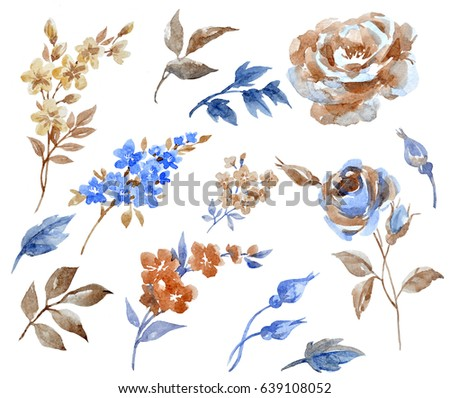 Watercolor set with abstract roses, leaves and buds. Lilac flowers. Isolated objects on white background