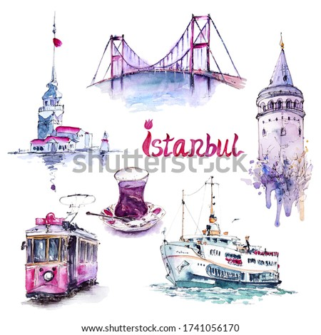 Watercolor set with ferry, bridge, towers, tram and turkish tea, Istanbul, Turkey. Hand painted isolated elements in trendy loose style on white. For print, poster, card making and travel design.