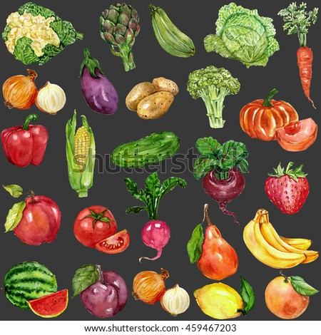 Watercolor set with fruits and vegetables #459467203