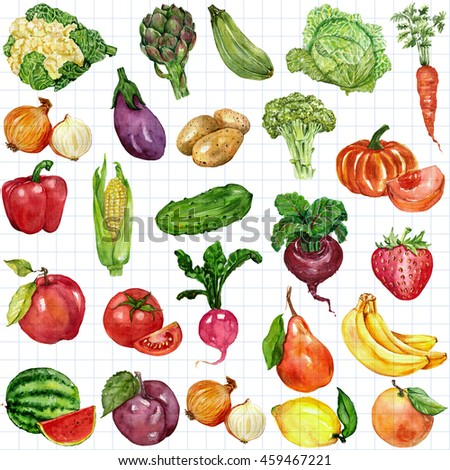 Watercolor set with fruits and vegetables #459467221