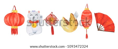 Watercolor set with red fan, lucky cat,  fortune cookie, lucky knot and chinese lanterns isolated on white background. China traditional collection. Real watercolor painting