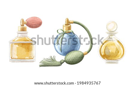 Watercolor set with three vintage perfume in elegant bottles with pulverizer pomp isolated on white background. Watercolor hand drawn illustration sketch Stock fotó ©