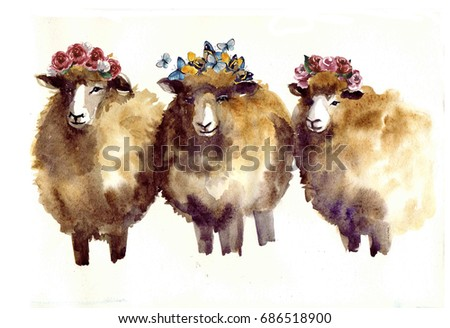 Watercolor sheep with flowers. Watercolor sheep, hand drawn cute illustration. Creative farm animals.