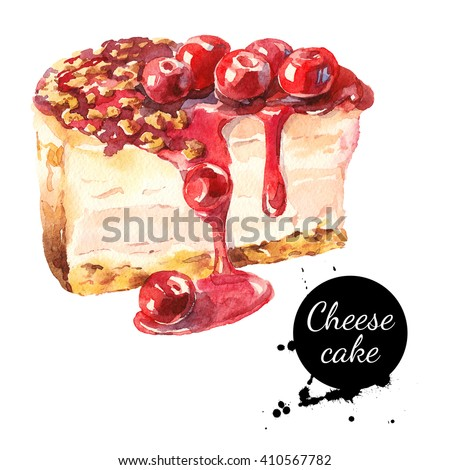 Watercolor sketch cherry cheesecake dessert. Isolated food illustration on white background