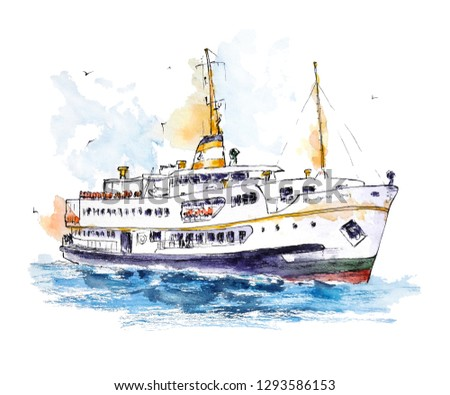 Watercolor sketch of Istanbul's ferry on white background. The piсture is perfect for print, poster, card making and travel design.