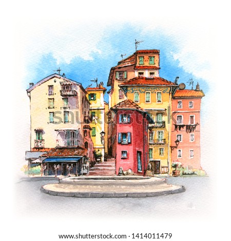 Watercolor sketch of typical colorful Provencal houses in sunny summer day, Menton, Provence, France