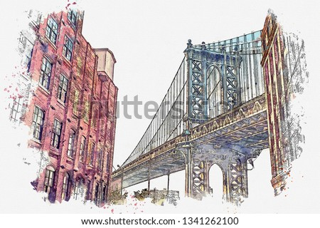 Watercolor sketch or illustration of a beautiful view of the Brooklyn Bridge and other buildings in NYC in the USA.
