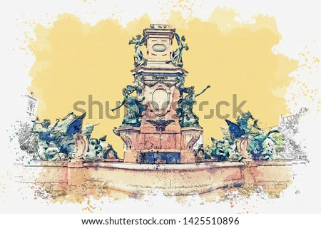 Watercolor sketch or illustration of a beautiful view of the old city fountain in Leipzig in Germany.