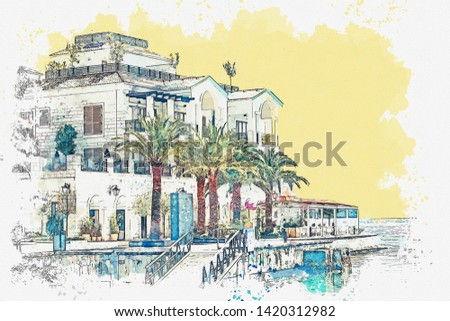 Watercolor sketch or illustration of a view of the embankment or promenade in Tivat in Montenegro. A small coastal tourist town.