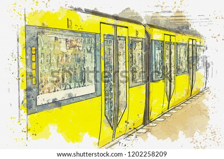 Watercolor sketch or illustration of the metro in Berlin in Germany. Traditional subway train at the subway station