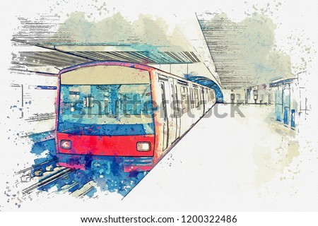 Watercolor sketch or illustration of the metro in Lisbon in Portugal. Traditional subway train at the subway station