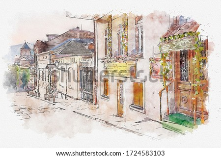 Watercolor sketch or illustration of the traditional European urban architecture in Tbilisi. Capital of Georgia