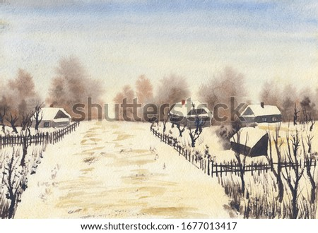 Watercolor sketch painting with abstract calm winter countryside landscape. Serene peaceful illustration with wooden village houses, fences & bare trees. Tranquil rural scenery in light warm colors.