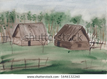 Watercolor sketch painting with abstract early spring countryside landscape. Calm peaceful illustration with wooden village houses, fence & green forest. Tranquil rural scenery in light colors.