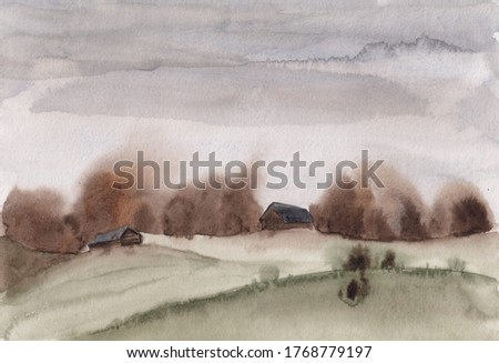 Watercolor sketch painting with abstract early spring/late autumn village landscape. Calm & serene illustration with wooden countryside houses, mountains, gray sky & forest. Tranquil rural scenery.