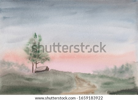 Watercolor sketch painting with abstract early spring or summer countryside landscape. Calm peaceful illustration with young tree, village house & green meadow. Tranquil rural scenery in light colors.