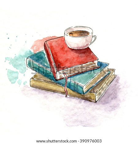 watercolor sketch with books and a mug. 