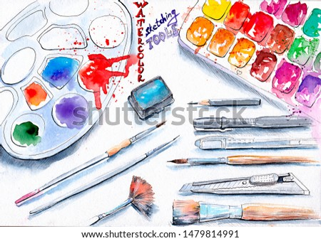 Watercolor Sketching Tools Hand Painted Illustration, funny style drawing, playful design sketch of color palette, paints, pencils, brushes, background for artist blog