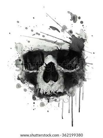 Watercolor skull illustration