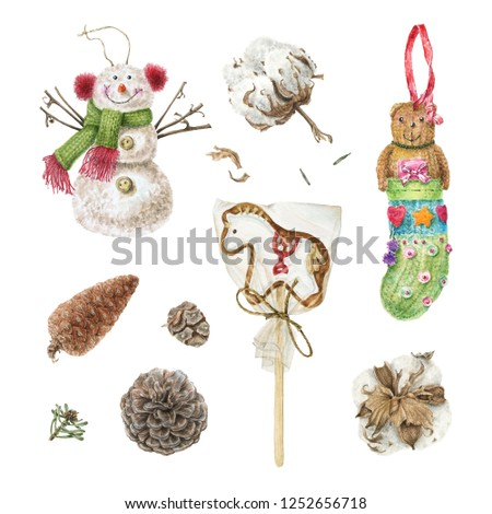 Watercolor snowman toy, teddy bear, gingerbread horse cookie, cones and cotton balls. Hand drawn illustration isolated on white background. Set for winter, New Year and Christmas decorations